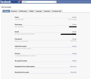 Screenshoot tampilan setting account